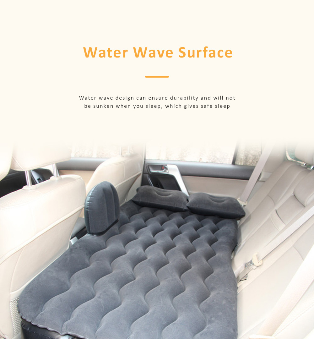 Upgraded Car Travel Inflatable Air Mattress Back Seat Portable Camping Bed Cushion with Back Support 2