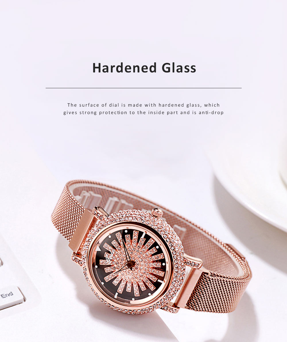 Stylish Quartz Watch with Large Glass Dial Diamond Mounted Watch 360 Degree Rotation Milanese Mesh Strap Wristwatch for Women 2