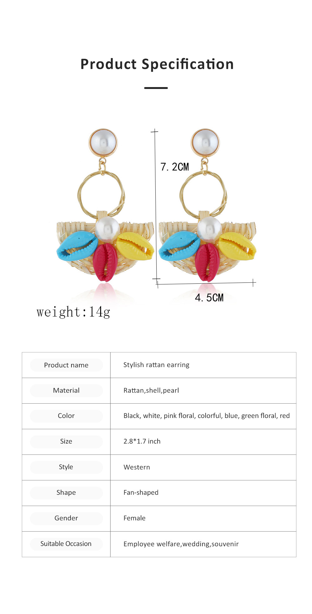 Natural Ocean Style Earring Colorful Outfit Accessory Jewelry Shell Rattan Pearl Earring for Women Girls 6