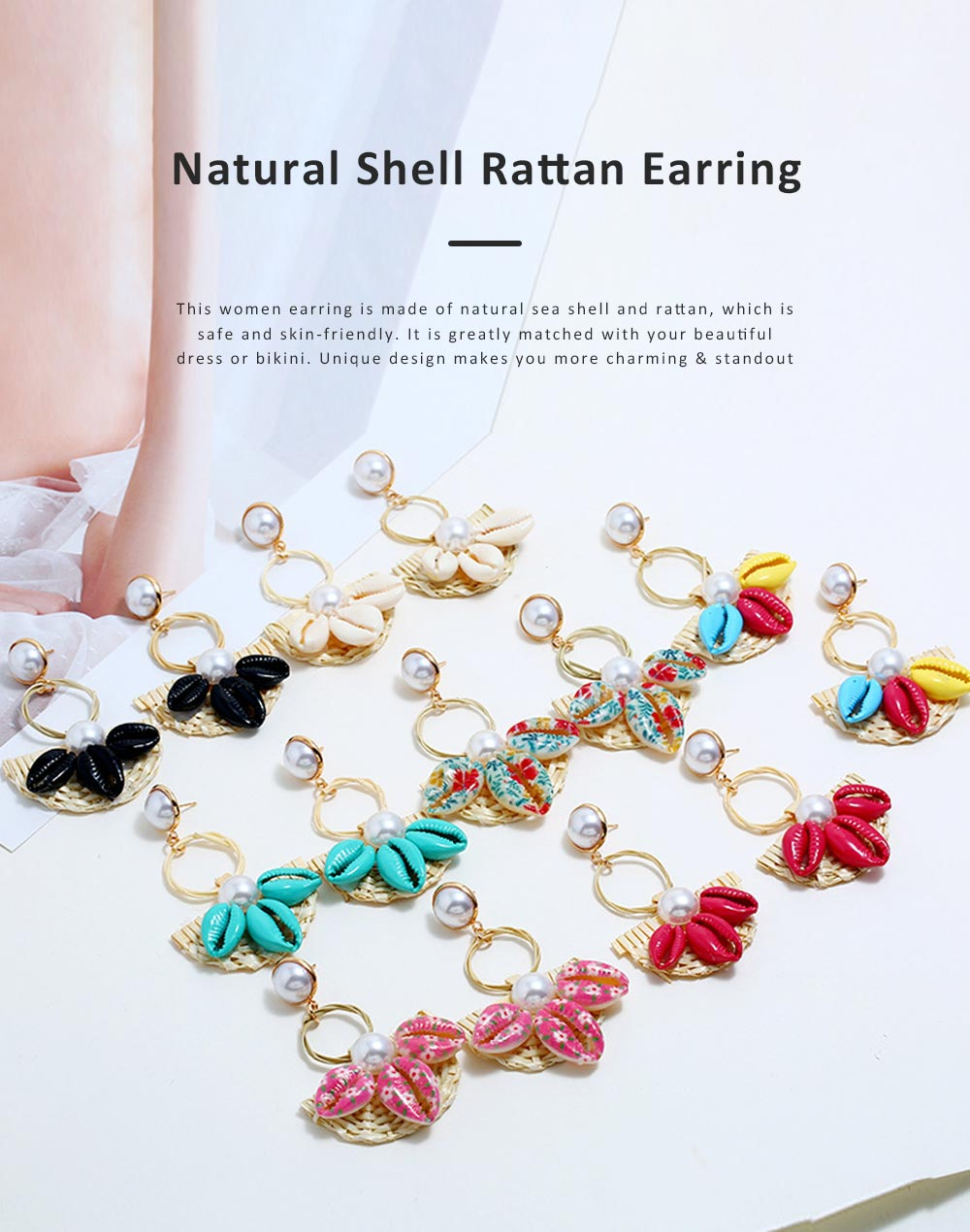 Natural Ocean Style Earring Colorful Outfit Accessory Jewelry Shell Rattan Pearl Earring for Women Girls 0