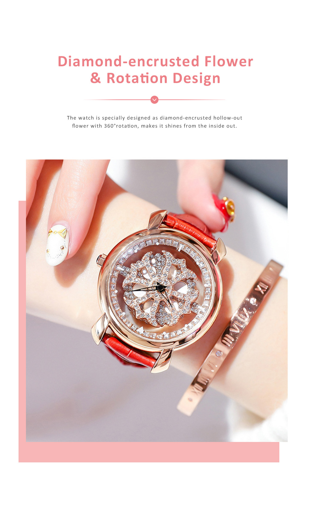 Diamond-encrusted Hollow-out Rotation Watch for Ladies Waterproof Japanese Quartz Movement Wrist Watch 3