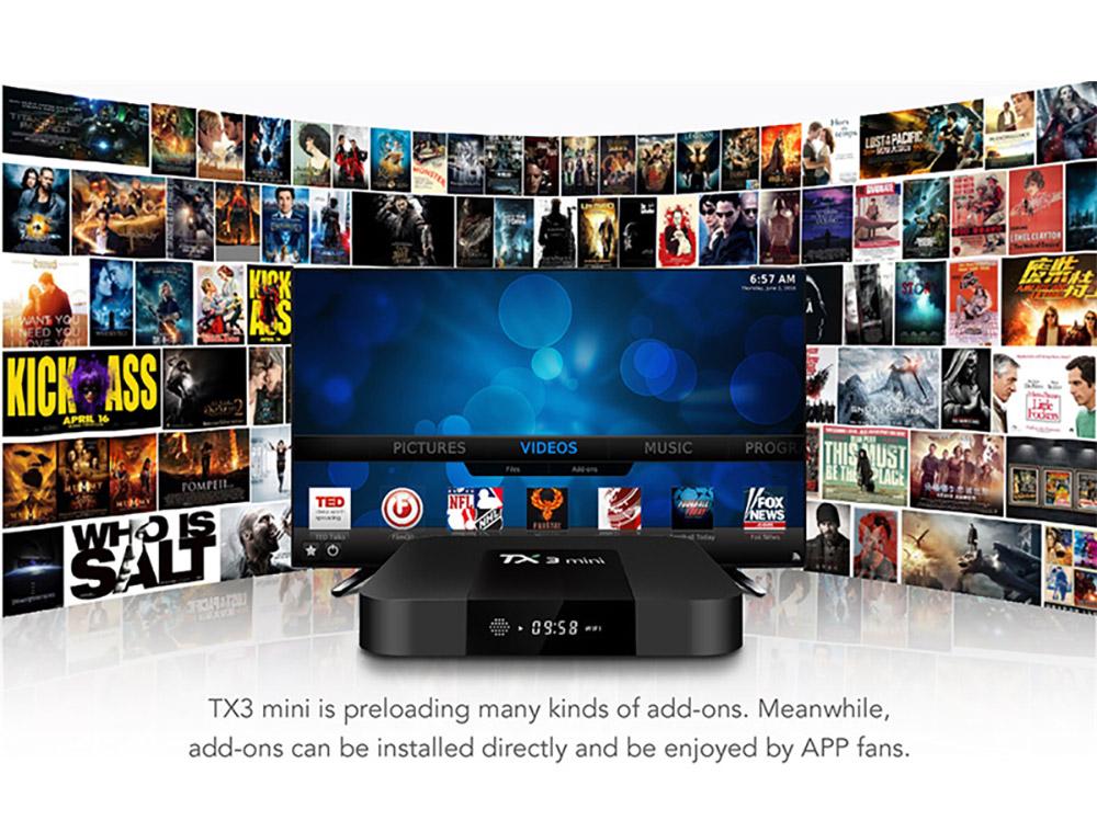 TX3 Mini S905W Android TV Box Smart IPTV Media Player 4K 7.1 Android H2.65 TX3 Mini TV Box 2G 16GB 6