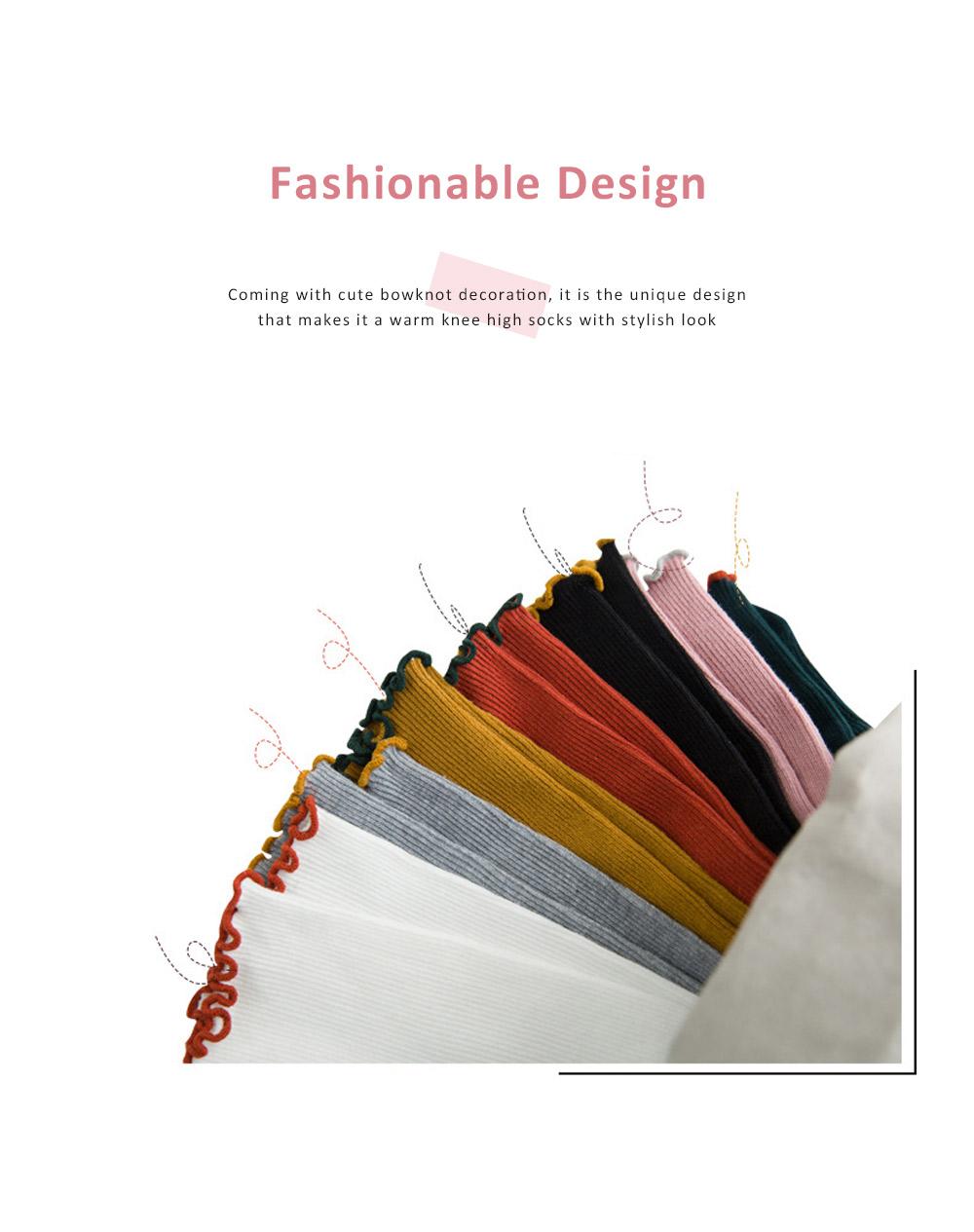 Korean Style Knee High Socks Cute Bowknot Cotton Knit Dress Socks Ruffled Shape Baby Stocking for Girls 1