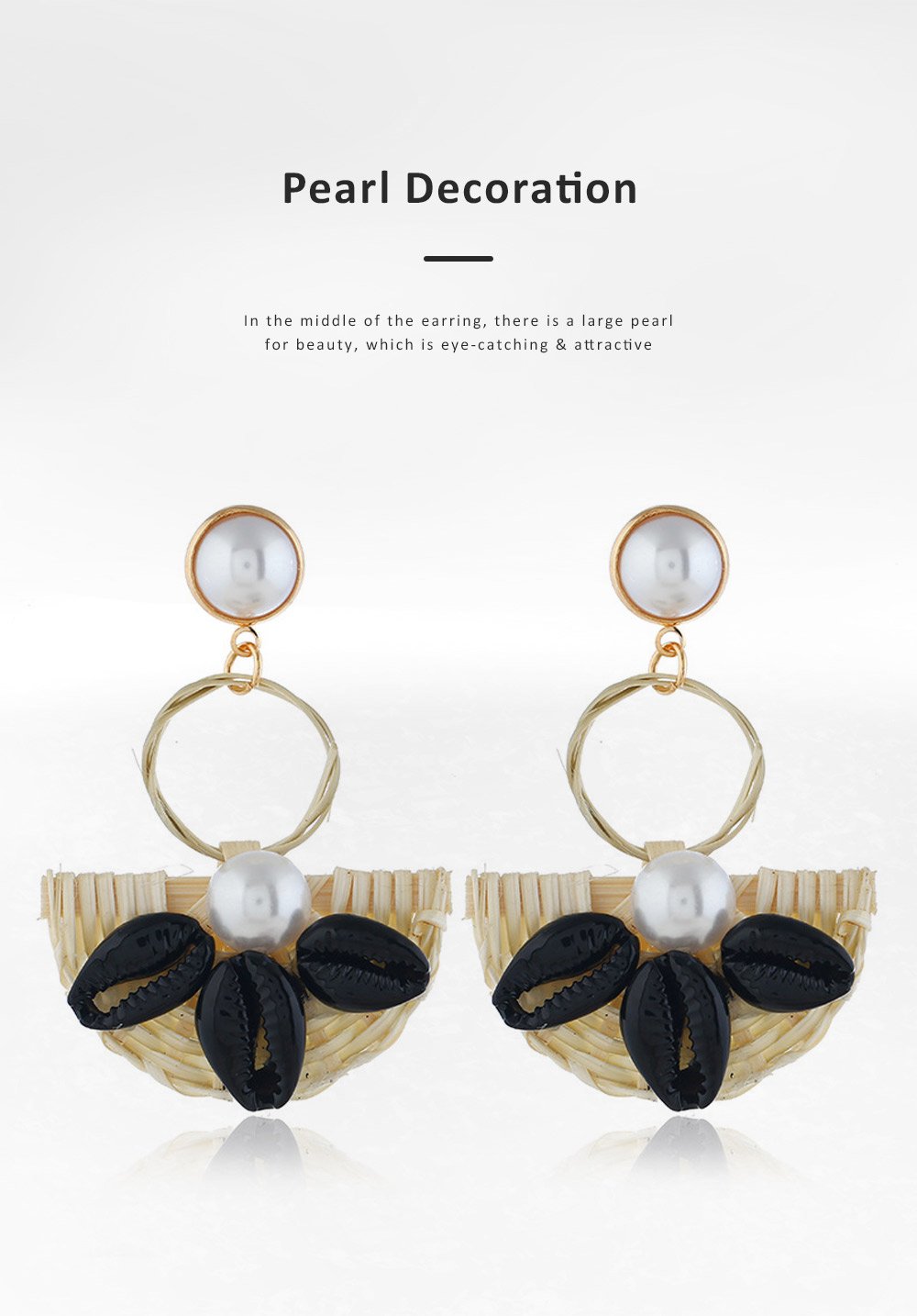Natural Ocean Style Earring Colorful Outfit Accessory Jewelry Shell Rattan Pearl Earring for Women Girls 2