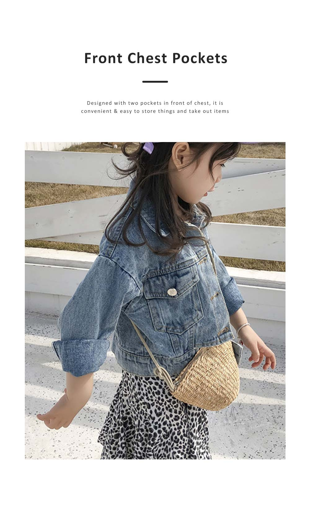 Classic style Denim Jacket Long Sleeve Clothes Fashionable Children Garment with Two Pockets for Girls 3