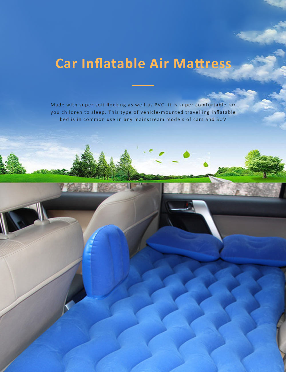 Upgraded Car Travel Inflatable Air Mattress Back Seat Portable Camping Bed Cushion with Back Support 0