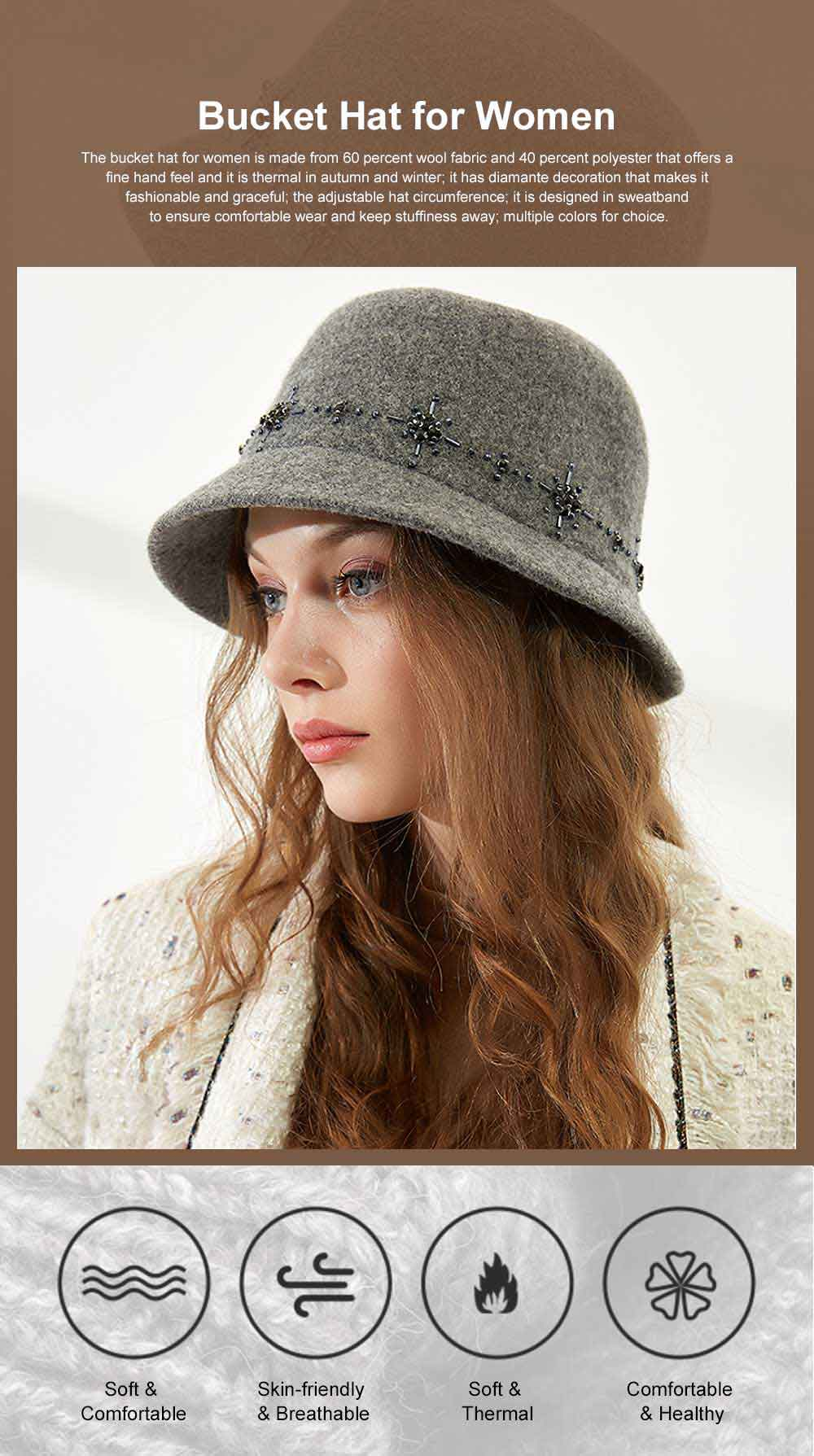 British Style Thermal Bucket Hat for Women Autumn Winter Wool-made Vintage Top Hat Round Top Revers Bowler Hat 0