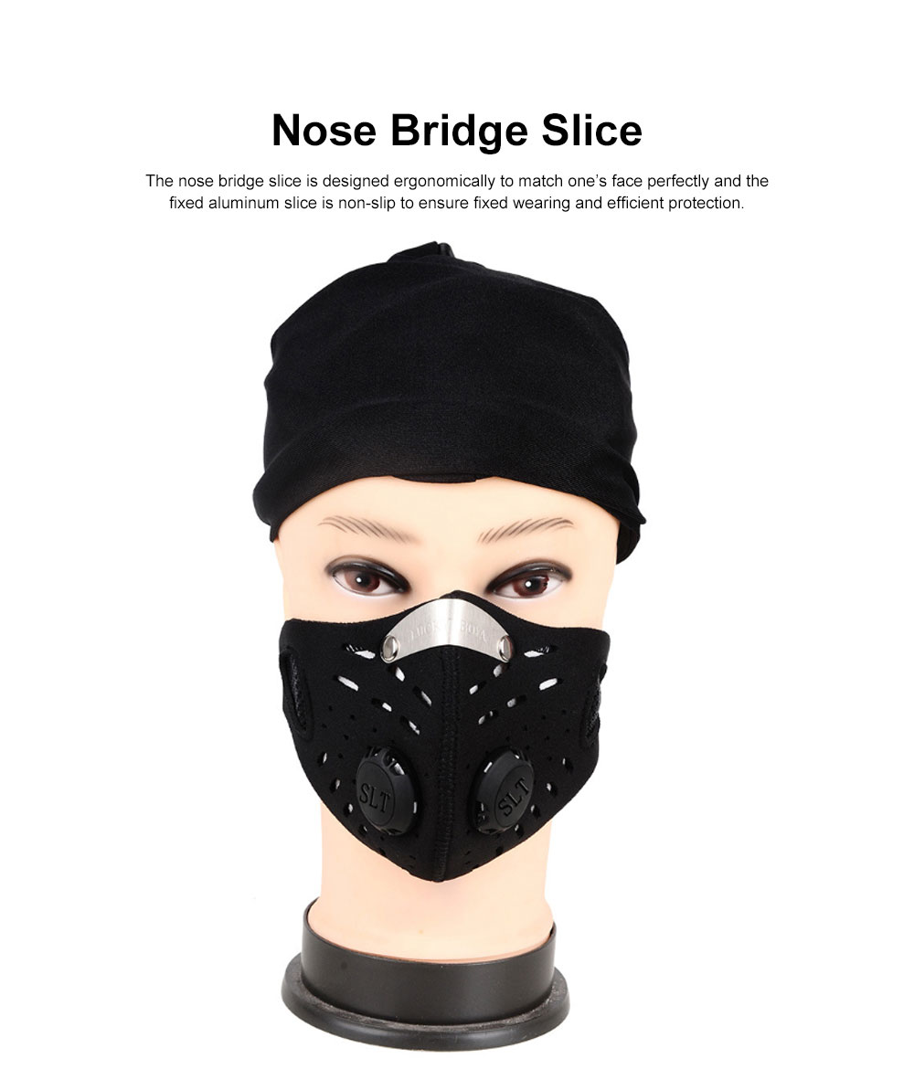 Activated Carbon Facial Mask for Outdoor Bicycle Riding Filter Element Replaceable Mouth-muffle Nose Clamp Design Anti-dust & Anti-smog Respirator 2