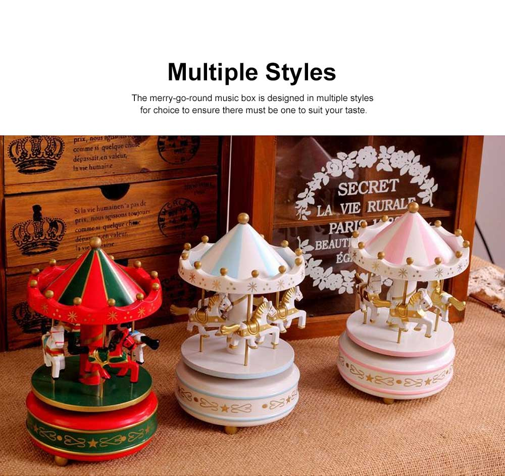 Wood-made Carousel Music Box Multiple Style Whirling Musical Box Gift or Decorative Ornaments for Household Use Craft 1