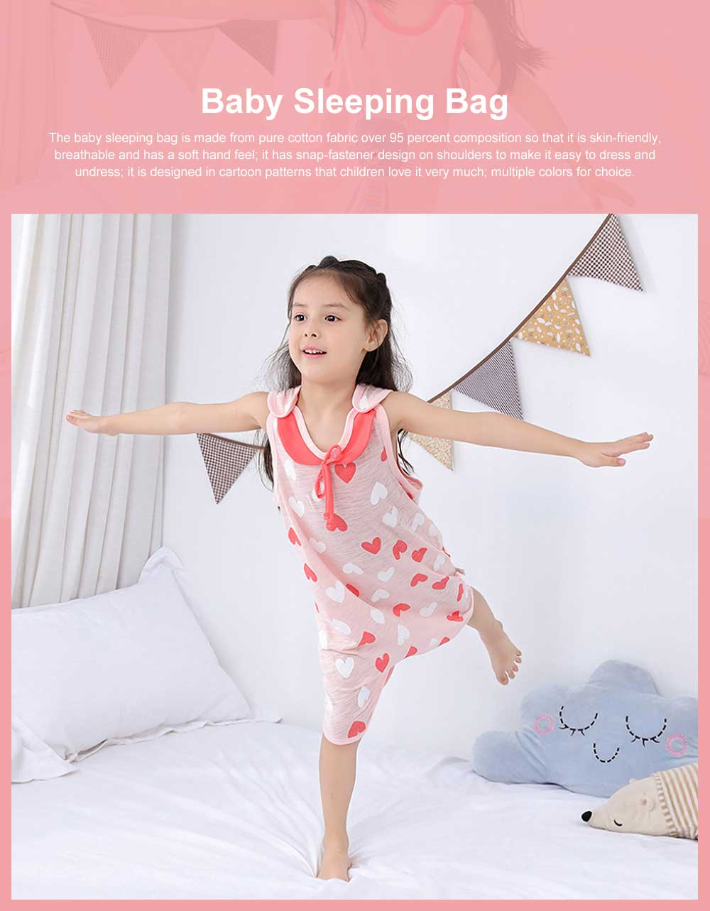 Pure Cotton One-piece Vest-type Baby Nightdress Sleeping Bag Babies Wear Thin Sleeveless Cartoon Sleeping Sack 0