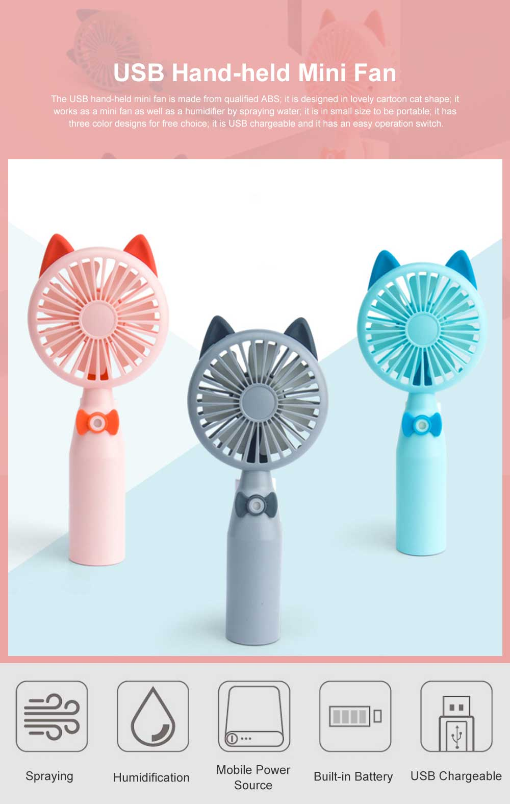 Mini USB Hand-held Fan Lovely Cartoon Cat Portable Spraying Humidifier Small Size Fan with Mesh Enclosure For Summer Use 0