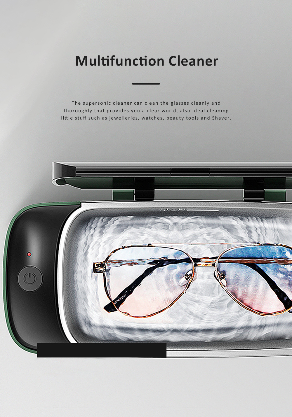 Household Small Supersonic Cleaner for Glasses Jewelleries Watches Beauty Tools Glass Ultrasonic Cleaning 4