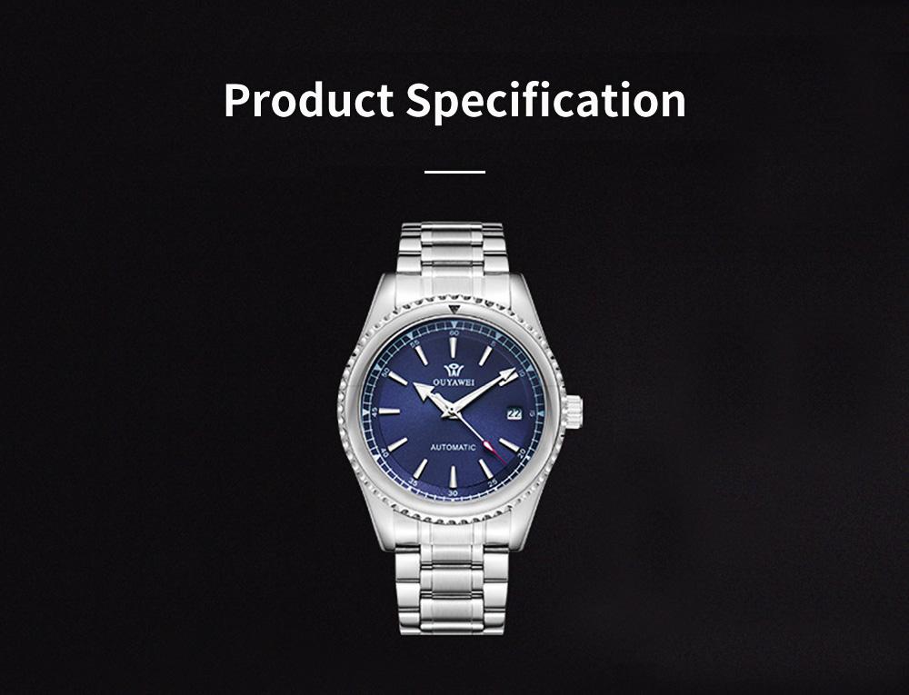 Man's Automatic Mechanical Watch Night Light Waterproof Business Hollow Steel Band Wristwatch, Swiss Wristwatch with Calendar 8