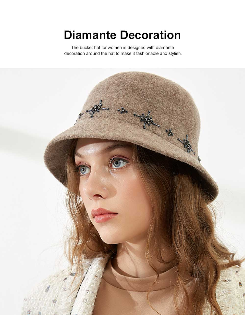 British Style Thermal Bucket Hat for Women Autumn Winter Wool-made Vintage Top Hat Round Top Revers Bowler Hat 2