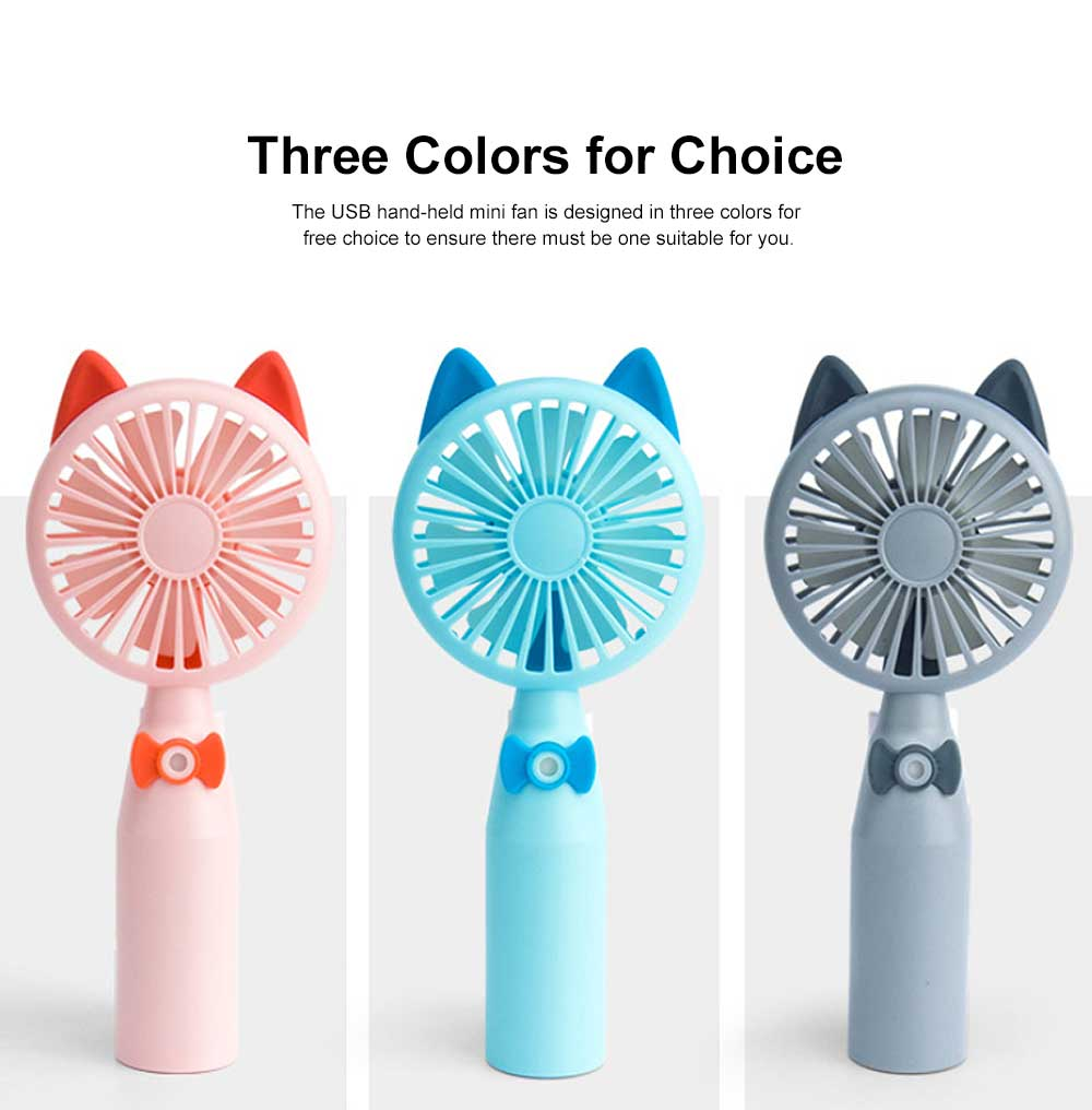 Mini USB Hand-held Fan Lovely Cartoon Cat Portable Spraying Humidifier Small Size Fan with Mesh Enclosure For Summer Use 2