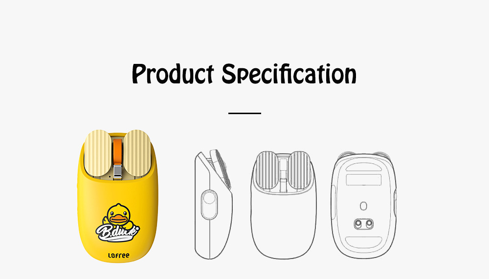 LOFREE Dual Mode Yellow Duck Bluetooth Mouse with 5-level Adjustable DPI Up to 3600, Yellow Duck Cartoon Wireless Mouse 9