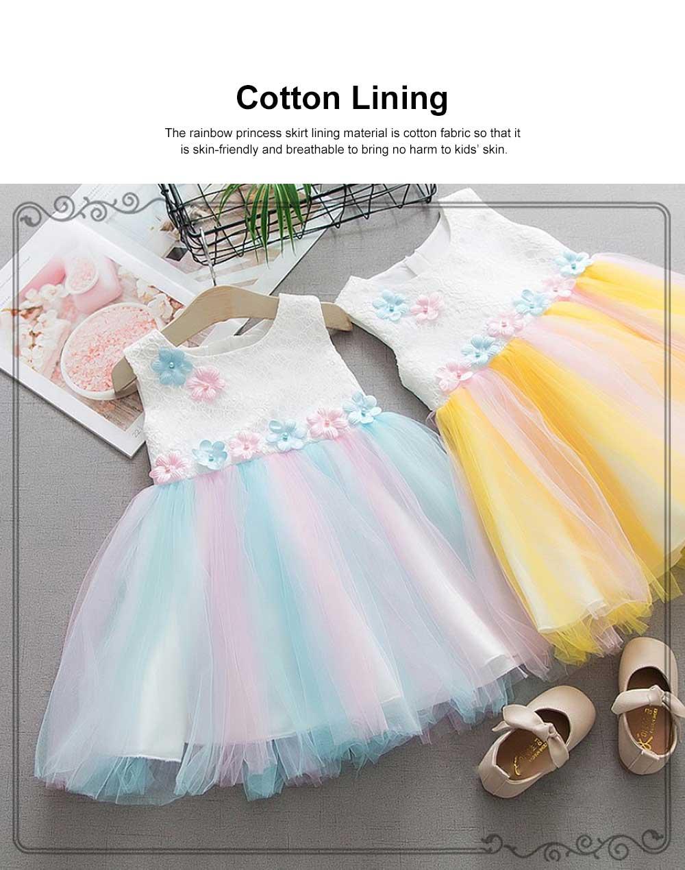 Rainbow Color Princess Skirt for Girl Kids, Summer Wear Korean Style Sleeveless One-piece Dress Princess Skirt for 1-3 Years 1