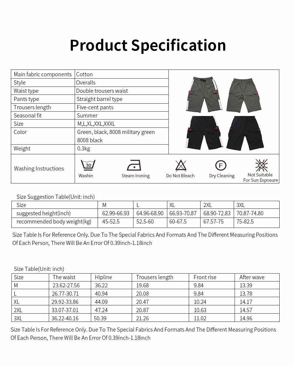 Men's Casual Overalls Shorts Students' Five-Point Shorts New Fashion Pocket Pants For Summer 6