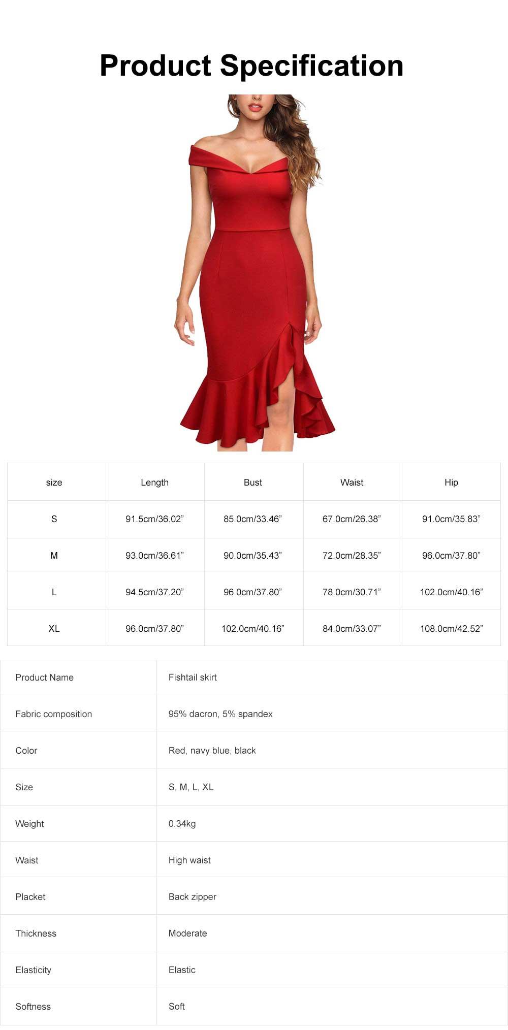 One-piece Women Evening Dress Formal Dress Sexy V Collar Off -shoulder Irregular Fishtail Skirt 6