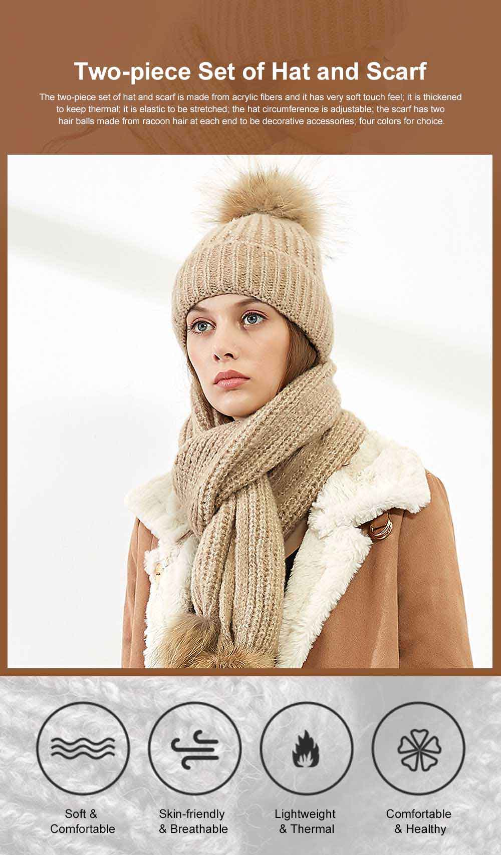 Thickened Two-piece Set Winter Hat Scarf for Lady Autumn Winter Thermal Knitted Twinset for Student Outdoor Use Knitted Thermal Products 0