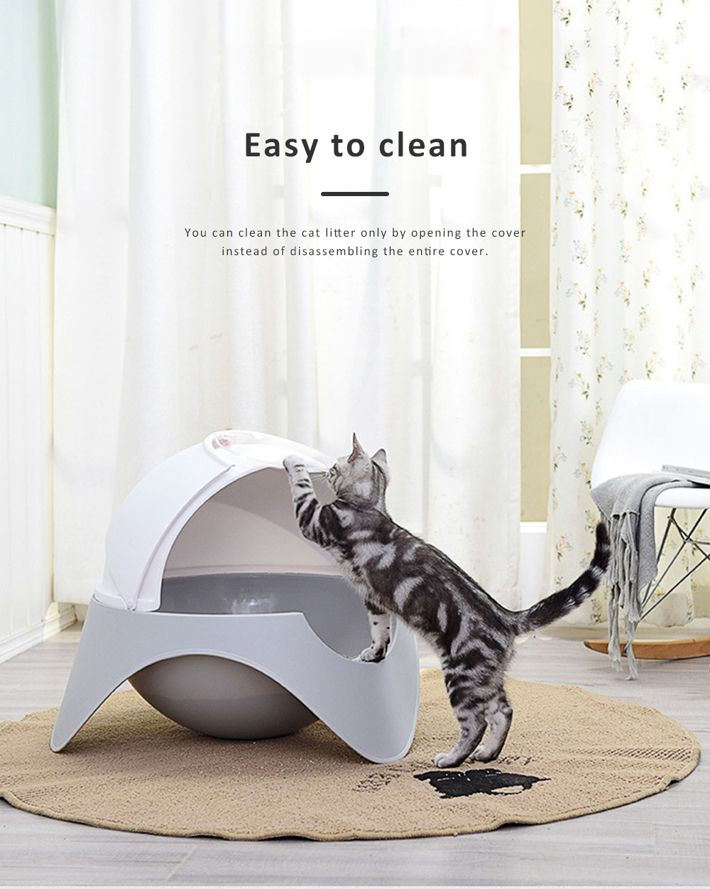 Space Capsule Cat Box, Totally Enclosed Space Capsule Extra Large Toilet for Cats Splash-proof Deodorization 5