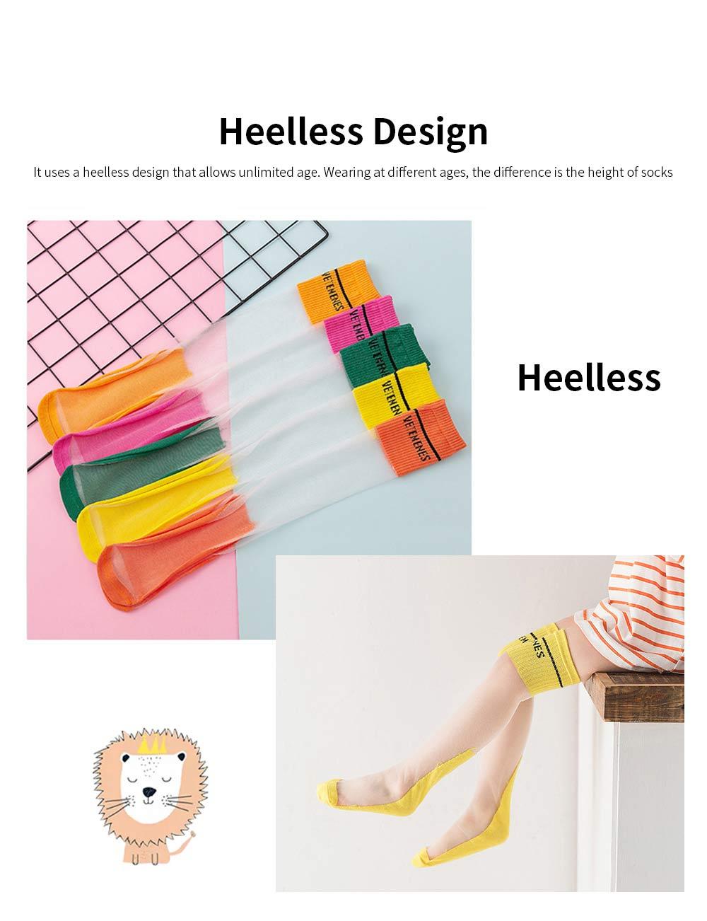 Children's Heelless Medium Length Socks Fashionable Thin Glass Silk Socks For Summer 1