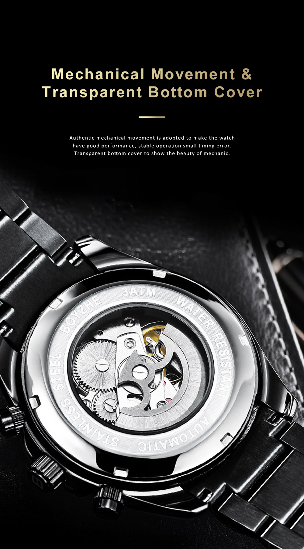 Automatic Mechanical Watch for Businessman, Stainless Steel Watchband Fashion Watch, Waterproof Sports Wrist Watch 4