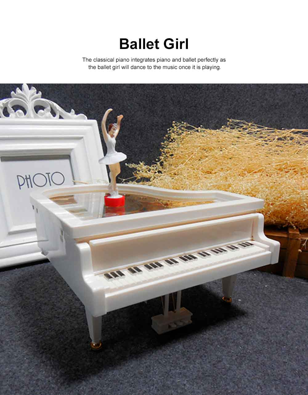 Creative Ballet Rotating Piano Music Box Christmas Gift or Valentine's Day Presemt Piano with Dancing Ballet Girl 2
