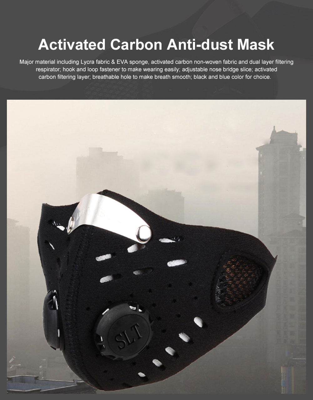 Activated Carbon Facial Mask for Outdoor Bicycle Riding Filter Element Replaceable Mouth-muffle Nose Clamp Design Anti-dust & Anti-smog Respirator 0