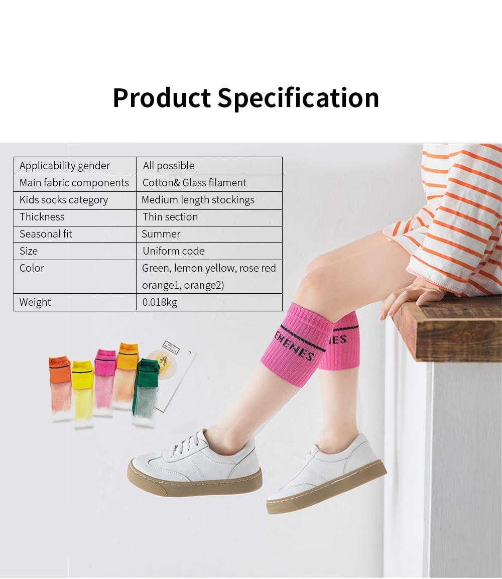 Children's Heelless Medium Length Socks Fashionable Thin Glass Silk Socks For Summer 5