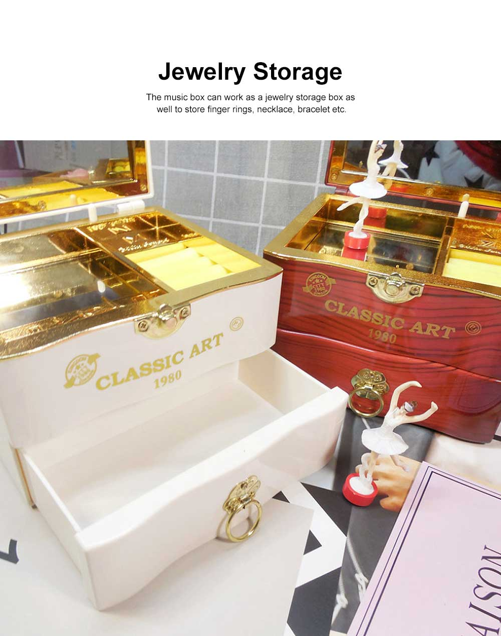 Classic Retro Style Dancing Girl Musical Box as Gift for Children or Girls, Clockwork Musical Box Creative Storage Box with Playing Music Jewelry 5