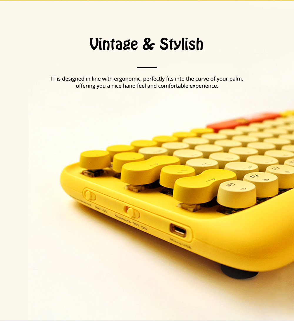 Lofree Dot Bluetooth Mechanical Keyboard with Retro Vintage Typewriter Style Keycaps Compatible with iOS, Android, Windows 1