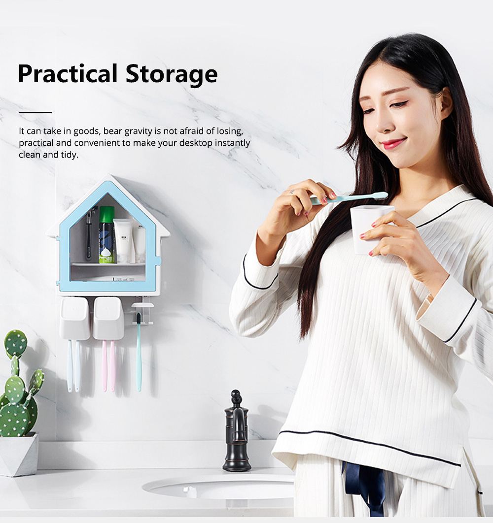 Creative Wall-mounted House-shaped Toothbrush Holder Multifunctional Three-Population Home Rinse Cup Set 3