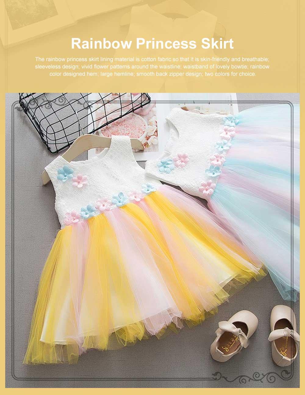 Rainbow Color Princess Skirt for Girl Kids, Summer Wear Korean Style Sleeveless One-piece Dress Princess Skirt for 1-3 Years 0