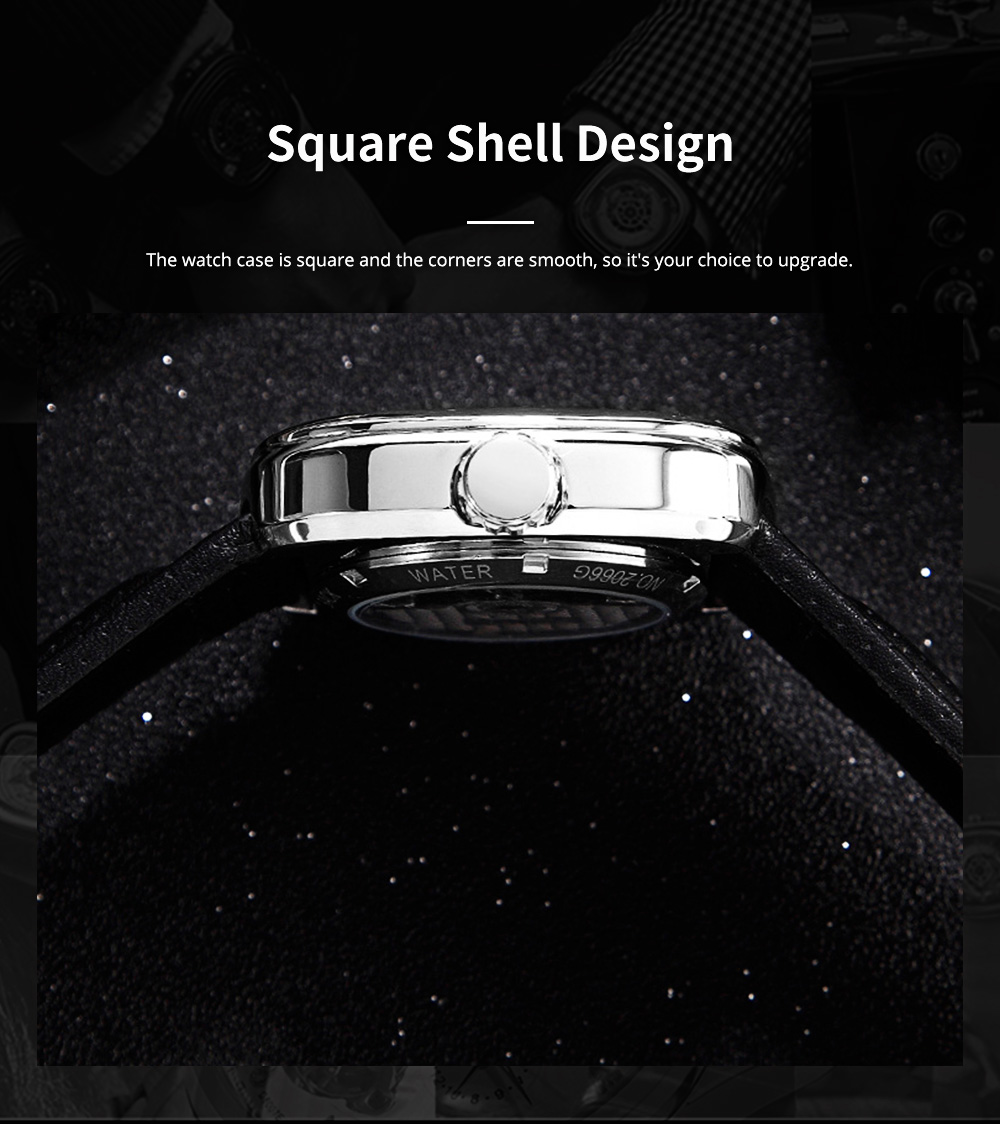 Youth's Watch Square Automatic Mechanical Watch Transparent Hollow Wrist Watch With Genuine Leather Strap 4
