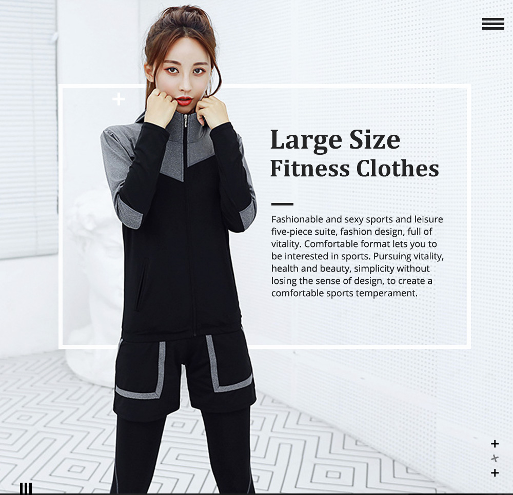 Large Size Fitness Clothes Loose Professional Yoga Suit Five-piece Suit for Gymnasium Sports Running in Autumn and Winter 0