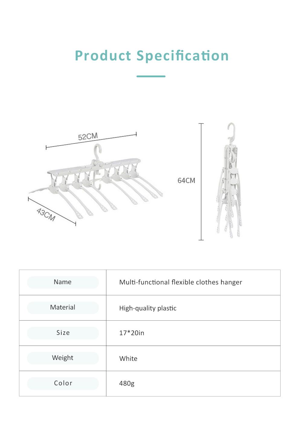 3 Pack Foldable Plastic Clothes Hanger, Multi-functional Flexible Clothes Rack Storage Set Anti-slip Wind-proof 6