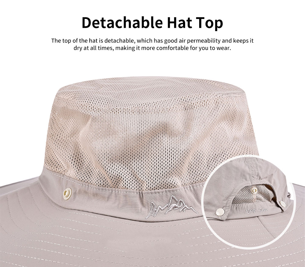 Outdoor Fishman's Hat Sunbonnet Polyester Material Enlarged Brim Sunhat Detachable Hat Top for Men Outside Activities Folding Topee Summer 5
