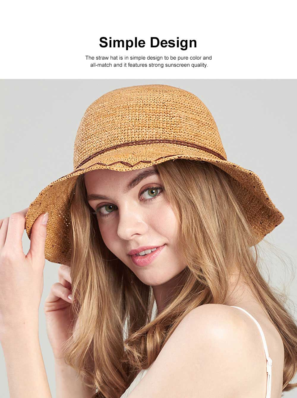 Summer Raffia Straw Hat for Women Large Brim Foldable Beach Hat All-match Sunscreen Bucket Cap Anti-UV Adumbral Cap 1
