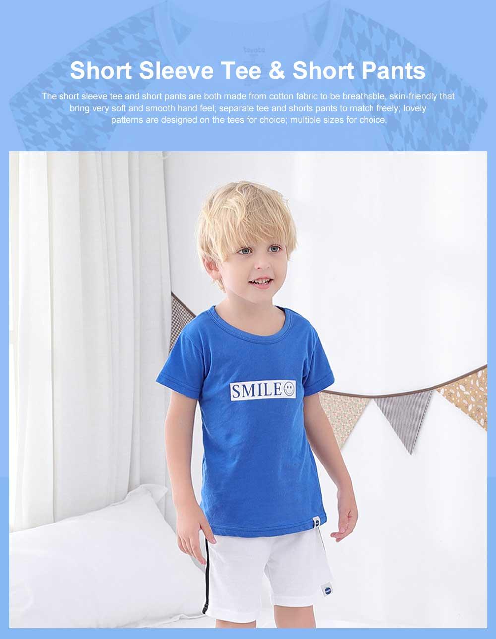 Pure Cotton Cartoon Short Sleeve T-shirt for Unisex Babies Wear in Summer Korean Style Waling Dress for Children Short Pants Children Wear 0