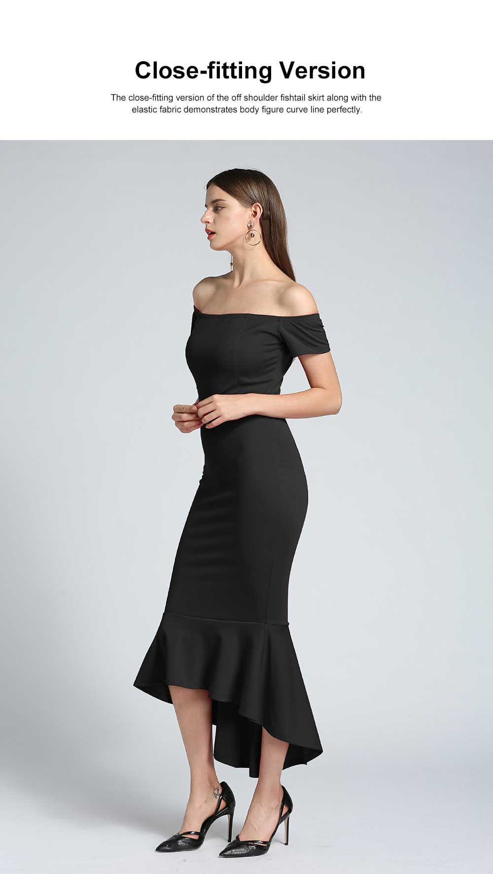 New Style One-piece Dress for Party Western Style Evening Formal Dress Amazon Best-selling Off Shoulder Short Sleeve Fishtail Skirt Evening Dress 1