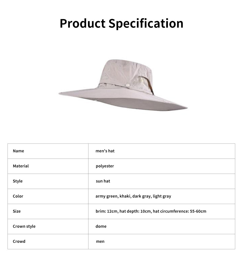 Outdoor Fishman's Hat Sunbonnet Polyester Material Enlarged Brim Sunhat Detachable Hat Top for Men Outside Activities Folding Topee Summer 6