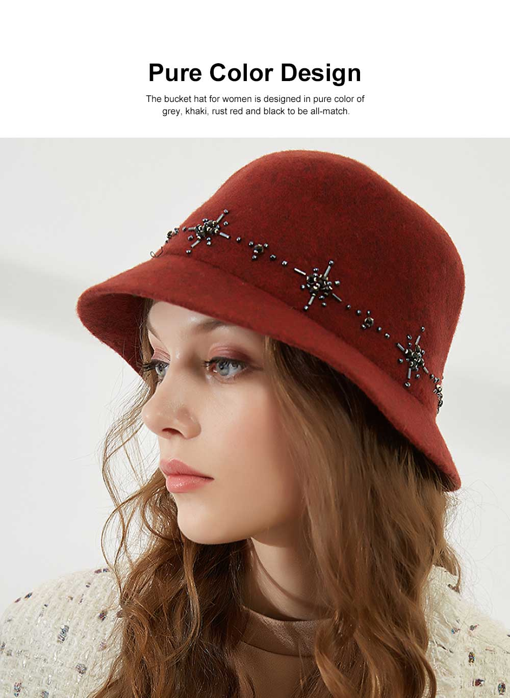 British Style Thermal Bucket Hat for Women Autumn Winter Wool-made Vintage Top Hat Round Top Revers Bowler Hat 3