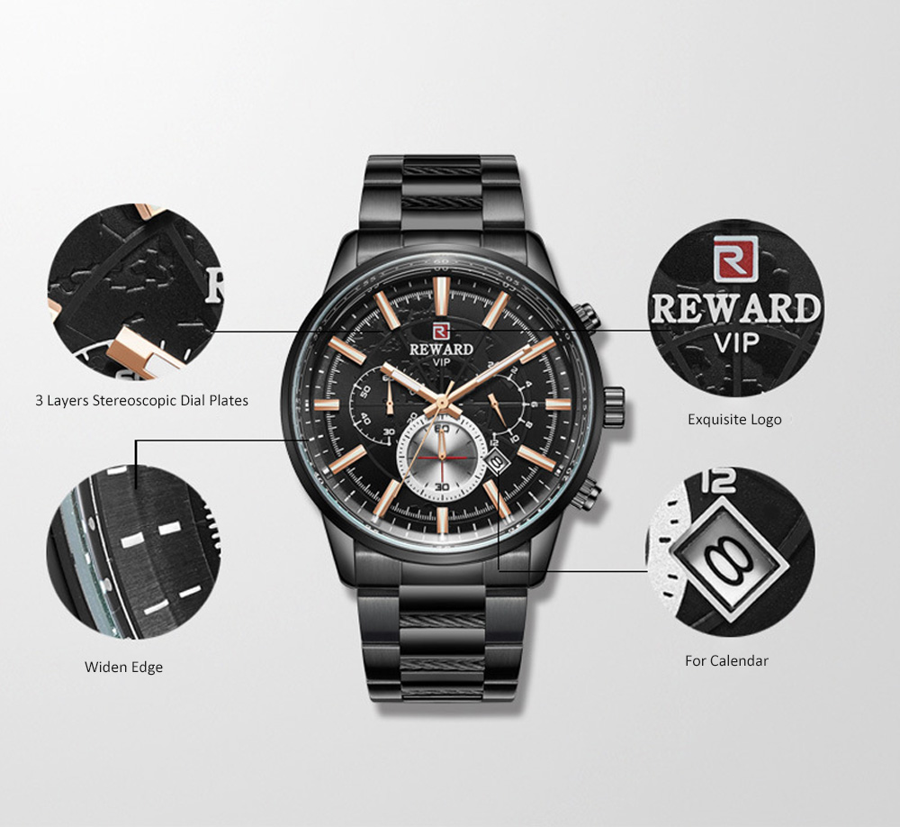 Men's Sports Quartz Watch with Stainless Steel Watchband, Butterfly Clasp, Night Luminous Wrist Watch 1