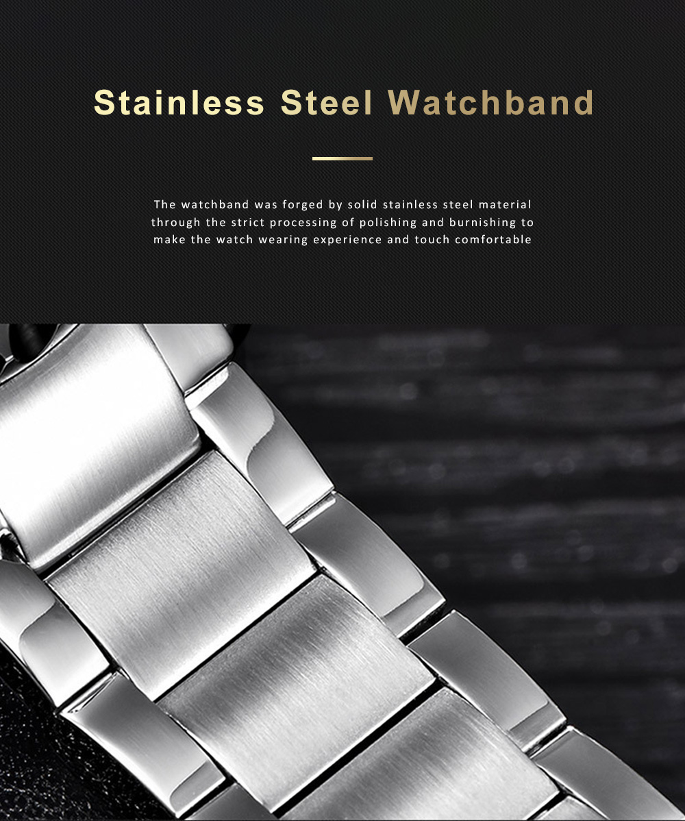 Automatic Mechanical Watch for Businessman, Stainless Steel Watchband Fashion Watch, Waterproof Sports Wrist Watch 6