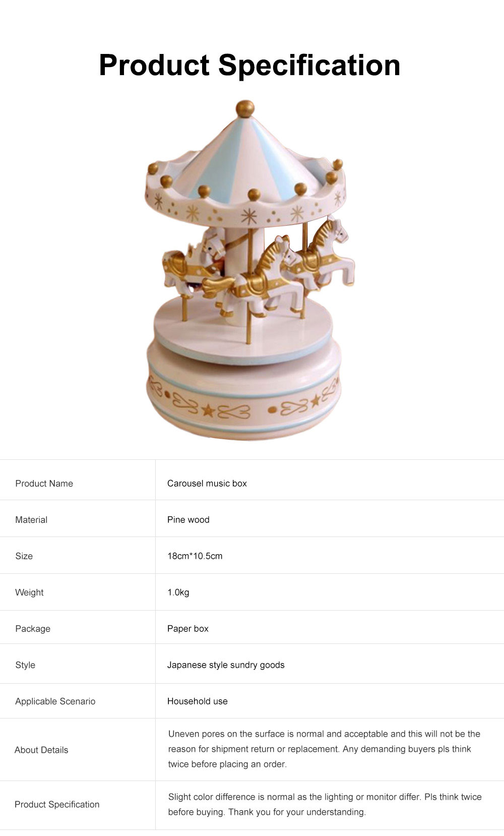 Wood-made Carousel Music Box Multiple Style Whirling Musical Box Gift or Decorative Ornaments for Household Use Craft 6