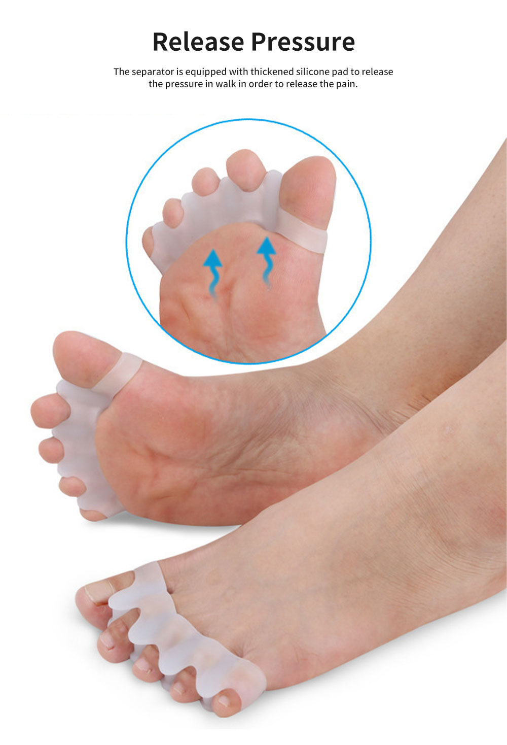 Toe Separators, Bunion Corrector for Bent Toes & Hammer Toes & Overlapping Toes, Stretcher, Anti-Callus 5