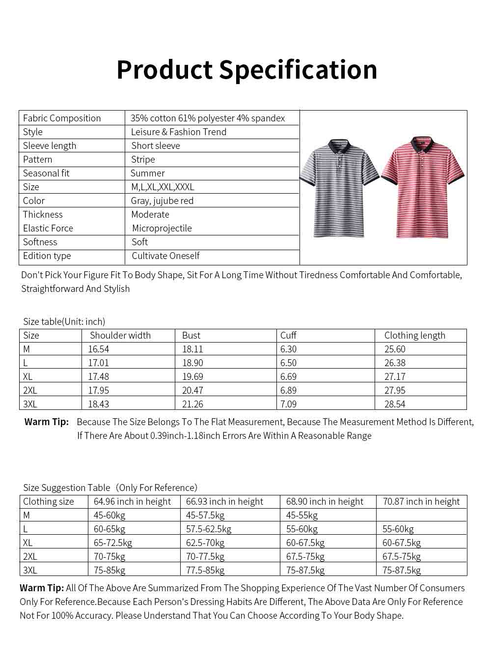 Men's Casual Short-Sleeved Polo Shirt Korean-Style Fashionable Striped Shirt For Summer 6
