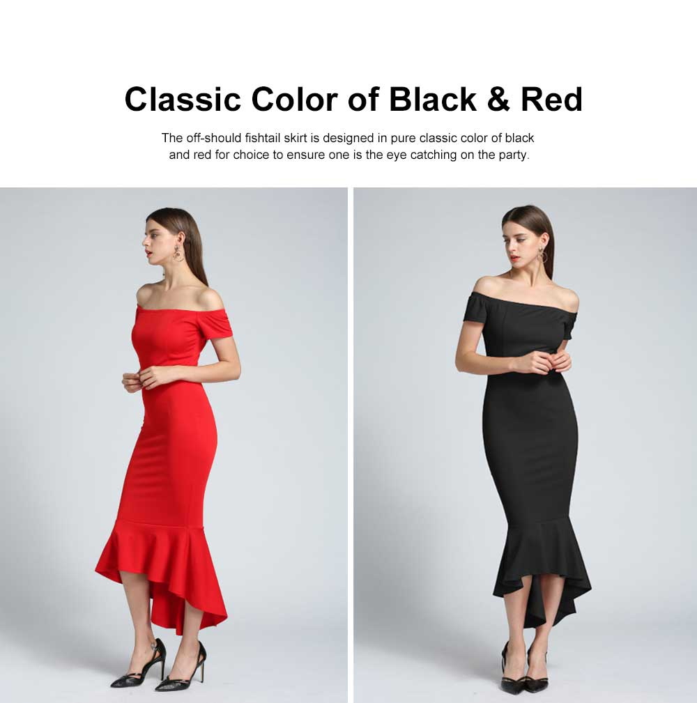 New Style One-piece Dress for Party Western Style Evening Formal Dress Amazon Best-selling Off Shoulder Short Sleeve Fishtail Skirt Evening Dress 3