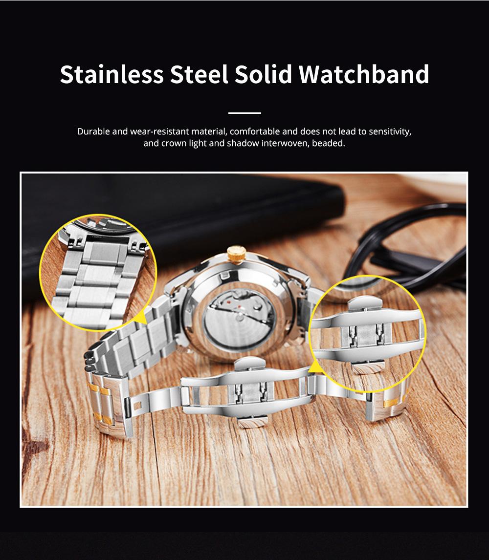 Man's Automatic Mechanical Watch Night Light Waterproof Business Hollow Steel Band Wristwatch, Swiss Wristwatch with Calendar 7